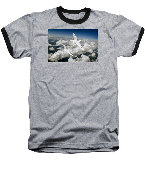 Baseball T-Shirt featuring the photograph Two Avro Vulcan B1 Nuclear Bombers by Gary Eason