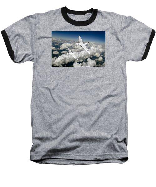 Two Avro Vulcan B1 Nuclear Bombers Baseball T-Shirt by Gary Eason