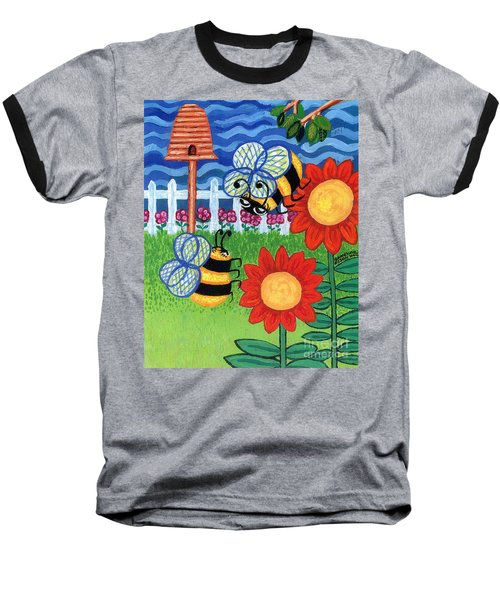 Two Bees With Red Flowers Baseball T-Shirt