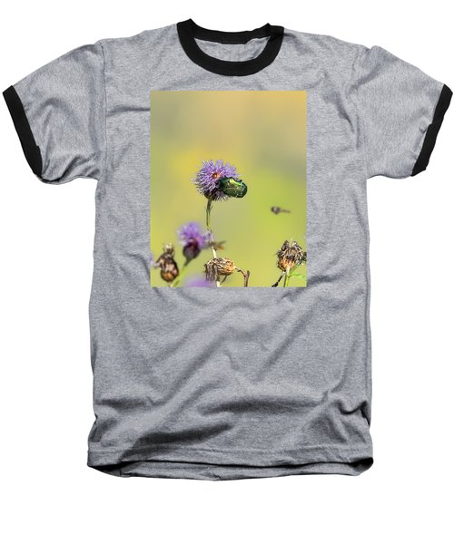 Baseball T-Shirt featuring the photograph Two Beetles On A Thistle Flower by Leif Sohlman
