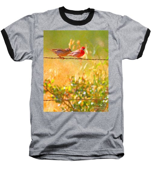 Two Birds On A Wire Baseball T-Shirt