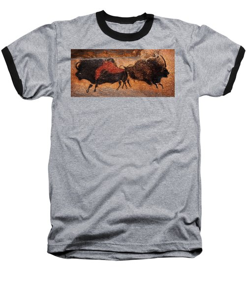 Two Bisons Running Baseball T-Shirt