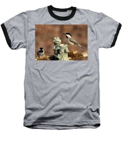 Two Black-capped Chickadees And Frog Baseball T-Shirt by Sheila Brown