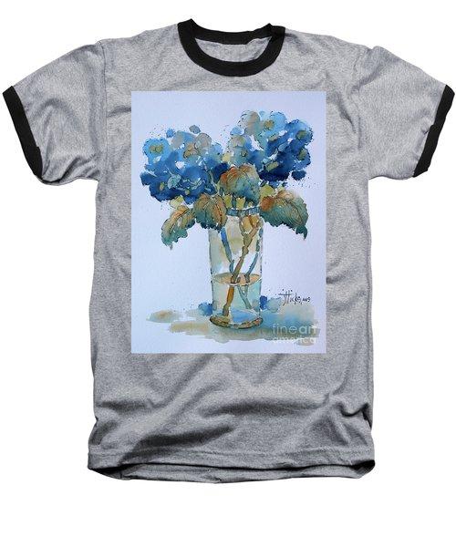 Two Blue Hydrangea Baseball T-Shirt