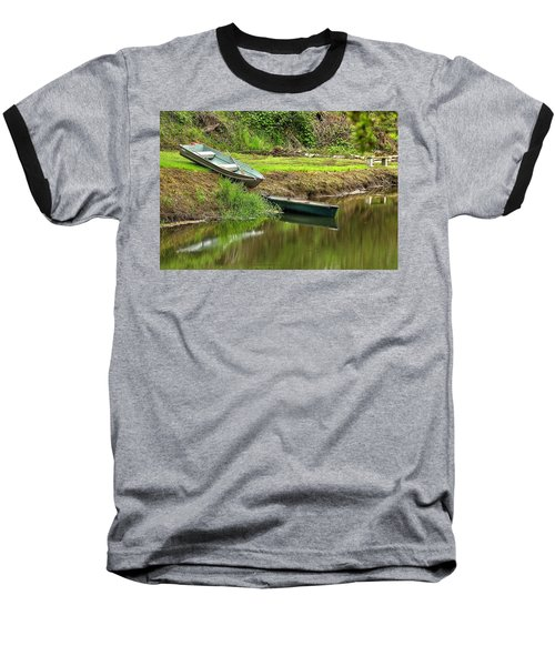 Two Boats And A Bench 1024 Baseball T-Shirt by Jerry Sodorff
