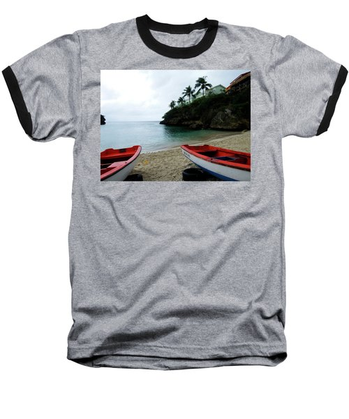 Baseball T-Shirt featuring the photograph Two Boats, Island Of Curacao by Kurt Van Wagner