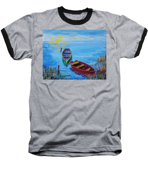 Two Boats Baseball T-Shirt by Mike Caitham