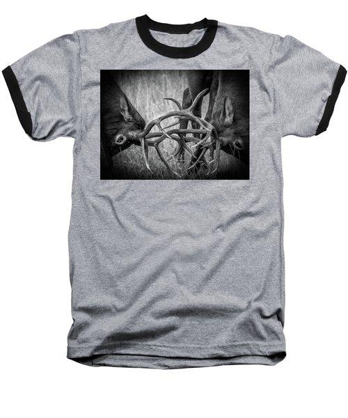 Two Bull Elk Sparring Baseball T-Shirt