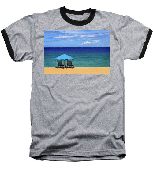 Baseball T-Shirt featuring the photograph Two Chairs And An Umbrella by James Eddy