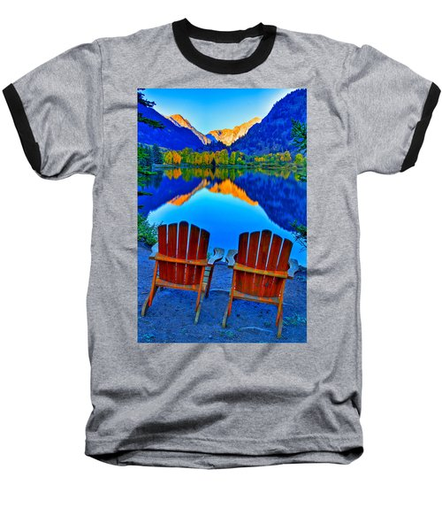 Two Chairs In Paradise Baseball T-Shirt by Scott Mahon