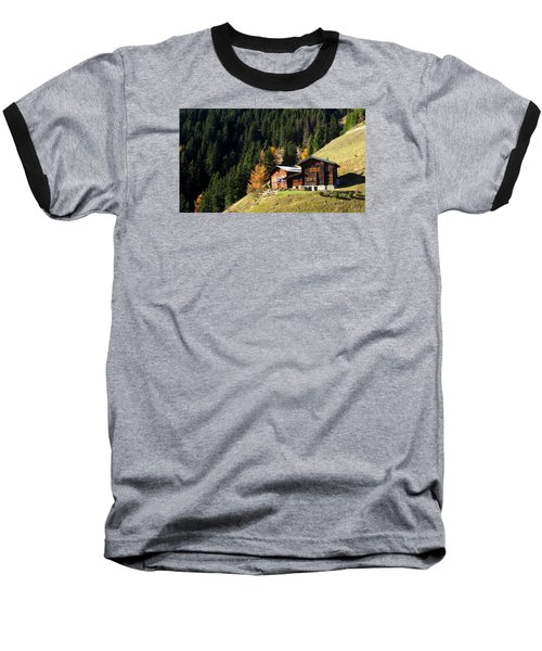 Two Chalets On A Mountainside Baseball T-Shirt by Ernst Dittmar