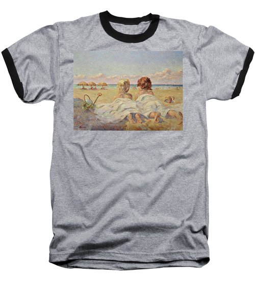 Two Children On The Beach Baseball T-Shirt
