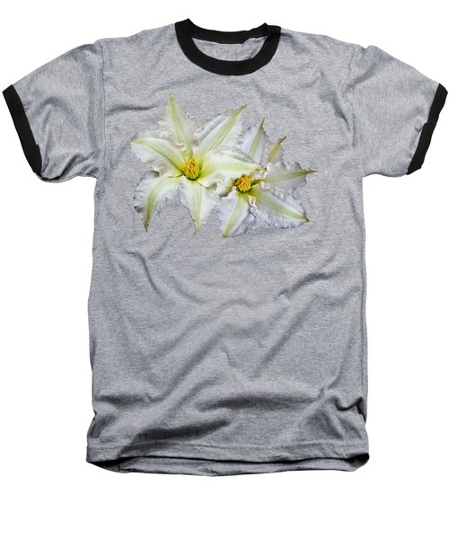 Baseball T-Shirt featuring the photograph Two Clematis Flowers On Pale Purple by Jane McIlroy