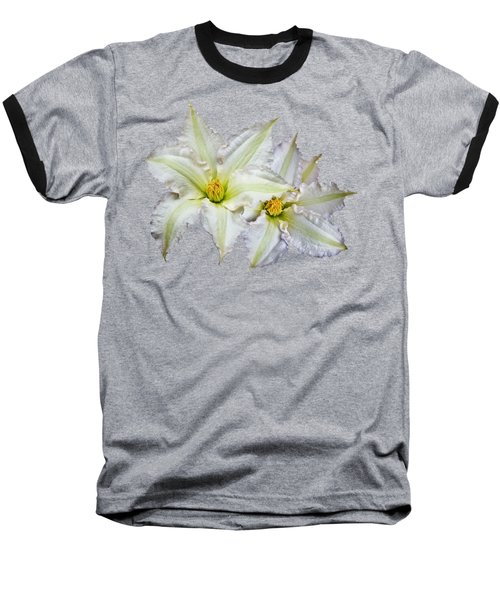 Baseball T-Shirt featuring the photograph Two Clematis Flowers On Purple by Jane McIlroy