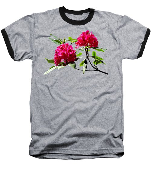 Two Dark Red Rhododendrons Baseball T-Shirt