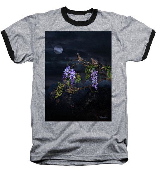 Mourning Doves In Moonlight Baseball T-Shirt