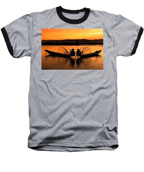 Two Fisherman At Sunset Baseball T-Shirt