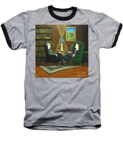 Two Gentlemen Sitting In Wingback Chairs At Private Club Baseball T-Shirt