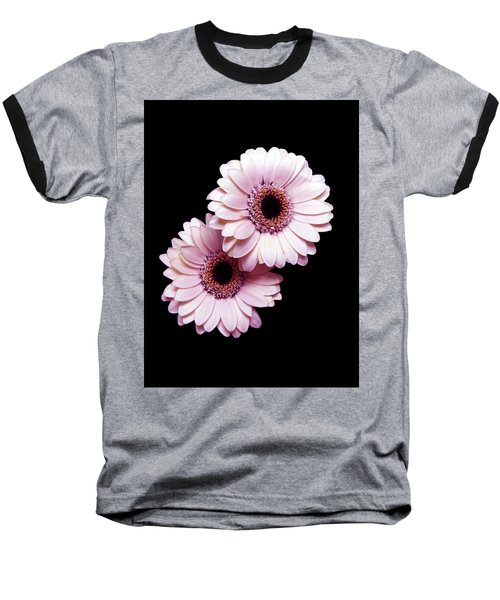Two Gerberas On Black Baseball T-Shirt