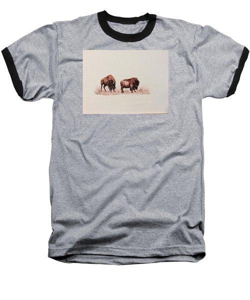 Two Grumpy Bisons  Baseball T-Shirt by Ellen Canfield
