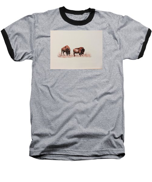 Two Grumpy Bisons  Baseball T-Shirt