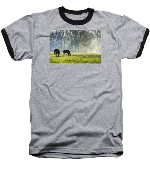 Two Horse Morning Baseball T-Shirt
