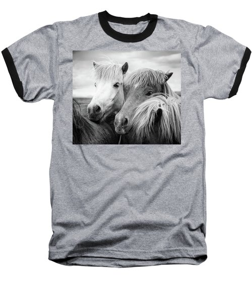 Two Icelandic Horses Black And White Baseball T-Shirt