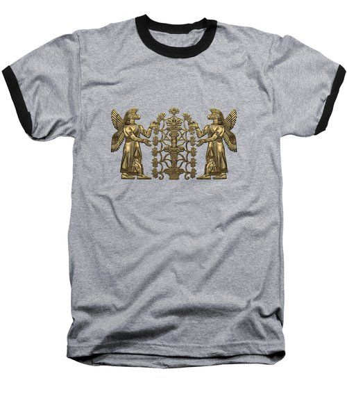 Two Instances Of Gold God Ninurta With Tree Of Life Over Black Canvas Baseball T-Shirt