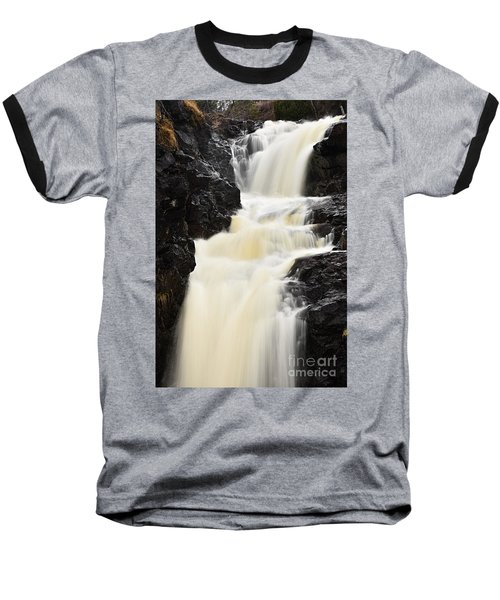 Baseball T-Shirt featuring the photograph Two Island River Waterfall by Larry Ricker