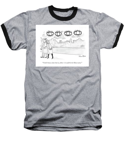 Two Large Sets Of Eyes Loom Over City Skyline. Baseball T-Shirt