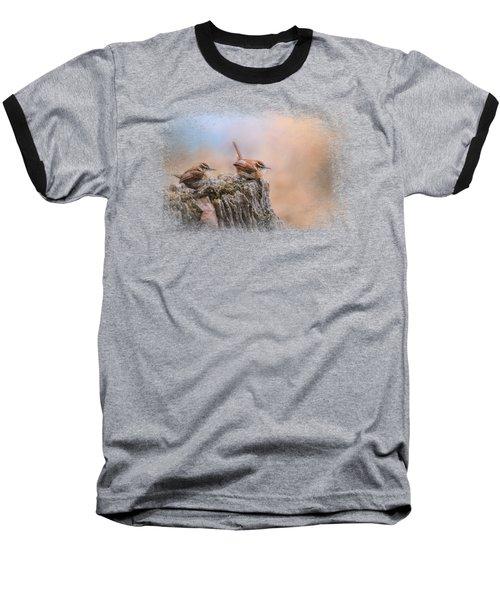 Two Little Wrens Baseball T-Shirt by Jai Johnson