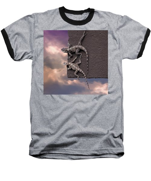 Two Lizards On The Edge Of The Roof Baseball T-Shirt