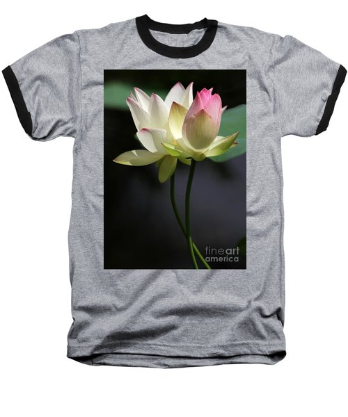 Two Lotus Flowers Baseball T-Shirt