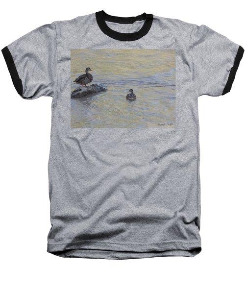 Two Mallard Ducks Baseball T-Shirt