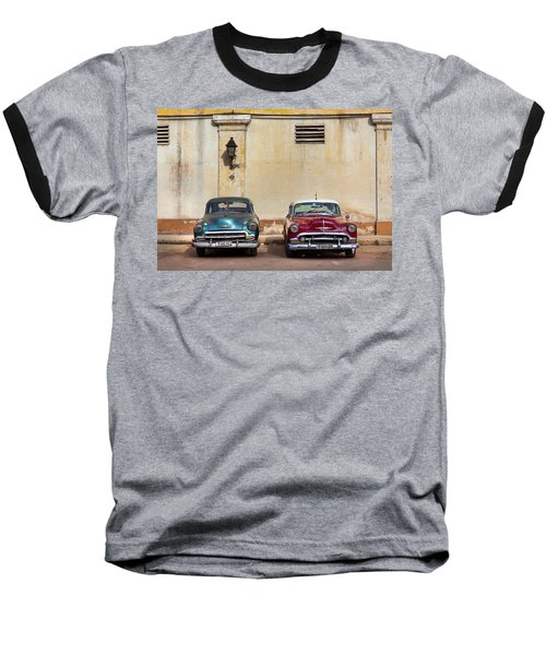 Baseball T-Shirt featuring the photograph Two Old Vintage Chevys Havana Cuba by Charles Harden