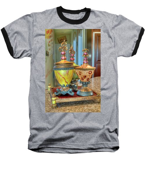 Two Ornate Colorful Vases Or Urns Art Prints Baseball T-Shirt