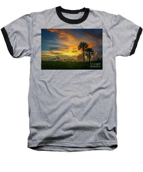 Two Palm Silhouette Sunrise Baseball T-Shirt
