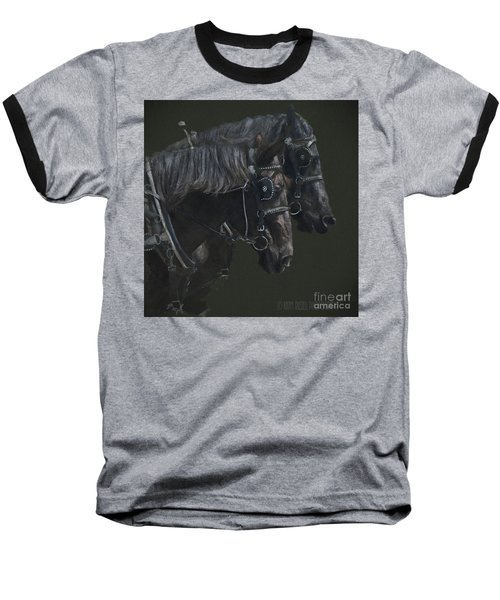 Two Percherons Baseball T-Shirt