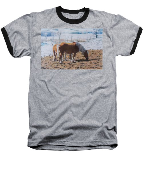 Two Ponies In The Snow Baseball T-Shirt