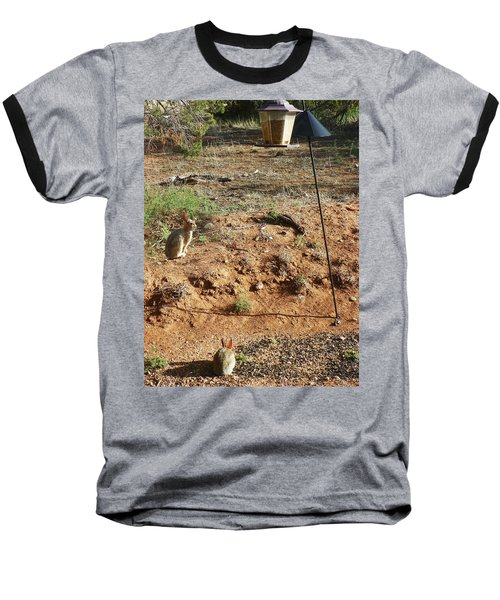Baseball T-Shirt featuring the photograph Two Rabbits And Bird Feeder by Joseph Frank Baraba