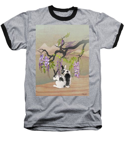 Two Rabbits Under Wisteria Tree Baseball T-Shirt
