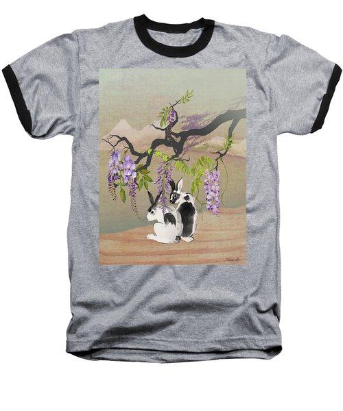 Two Rabbits Under Wisteria Tree Baseball T-Shirt