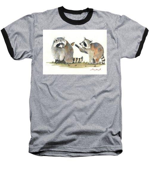Two Raccoons Baseball T-Shirt by Juan Bosco