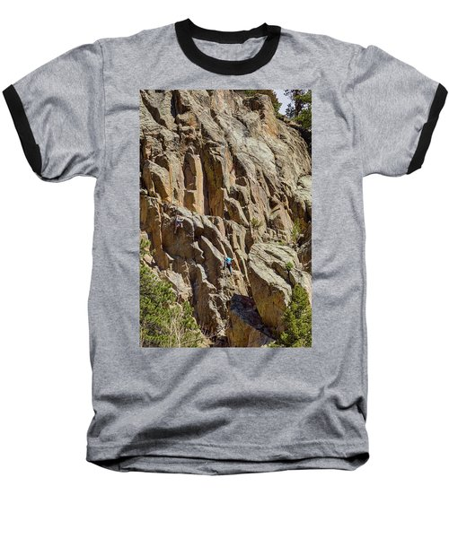 Baseball T-Shirt featuring the photograph Two Rock Climbers Making Their Way by James BO Insogna