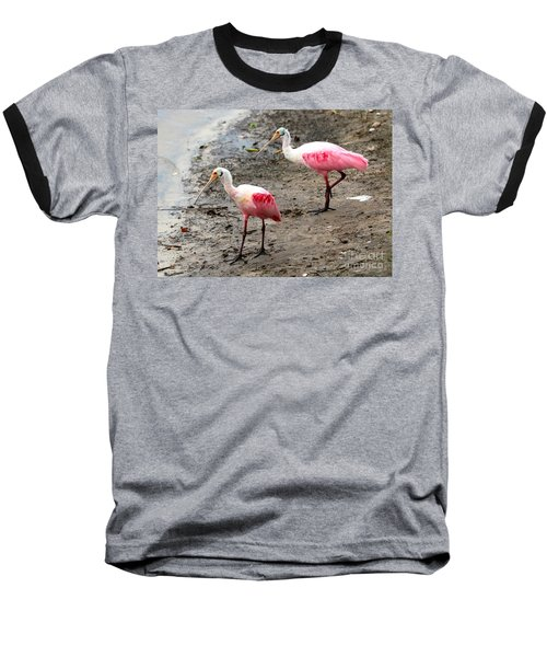 Two Roseate Spoonbills Baseball T-Shirt by Carol Groenen