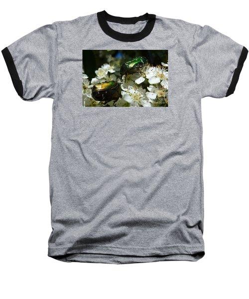 Baseball T-Shirt featuring the photograph Two Scarabs Metallic Green by Jean Bernard Roussilhe