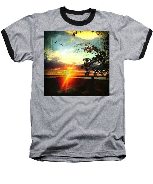 Two Souls Flying Off Into The Sunset  Baseball T-Shirt by Debra Martz