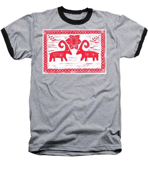 Two Swedish Yule Goats Baseball T-Shirt