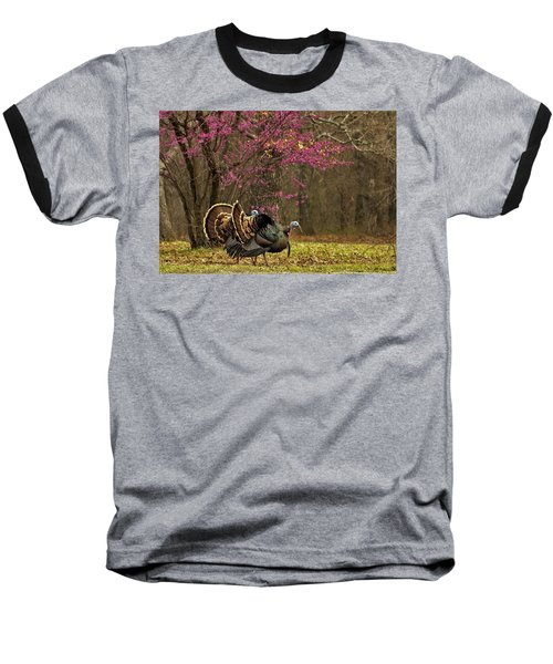 Two Tom Turkey And Redbud Tree Baseball T-Shirt
