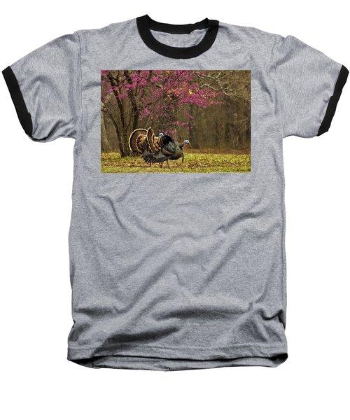 Two Tom Turkey And Redbud Tree Baseball T-Shirt